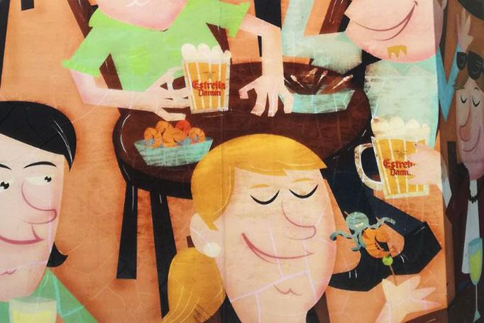 Affiche peinte sur l'un des murs du restaurant la Casa de Tapes Cañota, Barcelona.