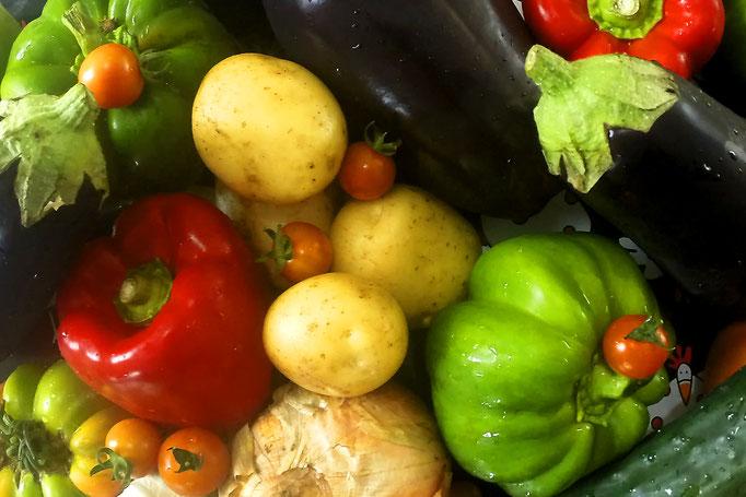 Poivrons, aubergines, tomates, concombre, pommes de terre, ail et oignon choisis frais par Tapas Locas pour votre plus grand plaisir !
