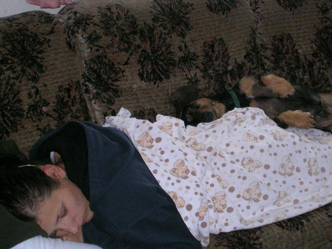 Mein Ali - typische Schlafposition von uns beiden