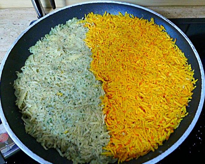halb und halb Kürbis und Kartoffel zu einem großen Puffer bebraten