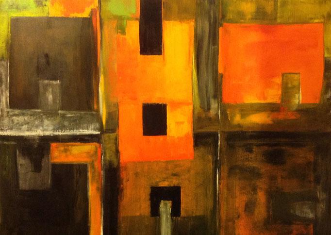 Orange Tore (100x120 cm), Öl auf Leinwand
