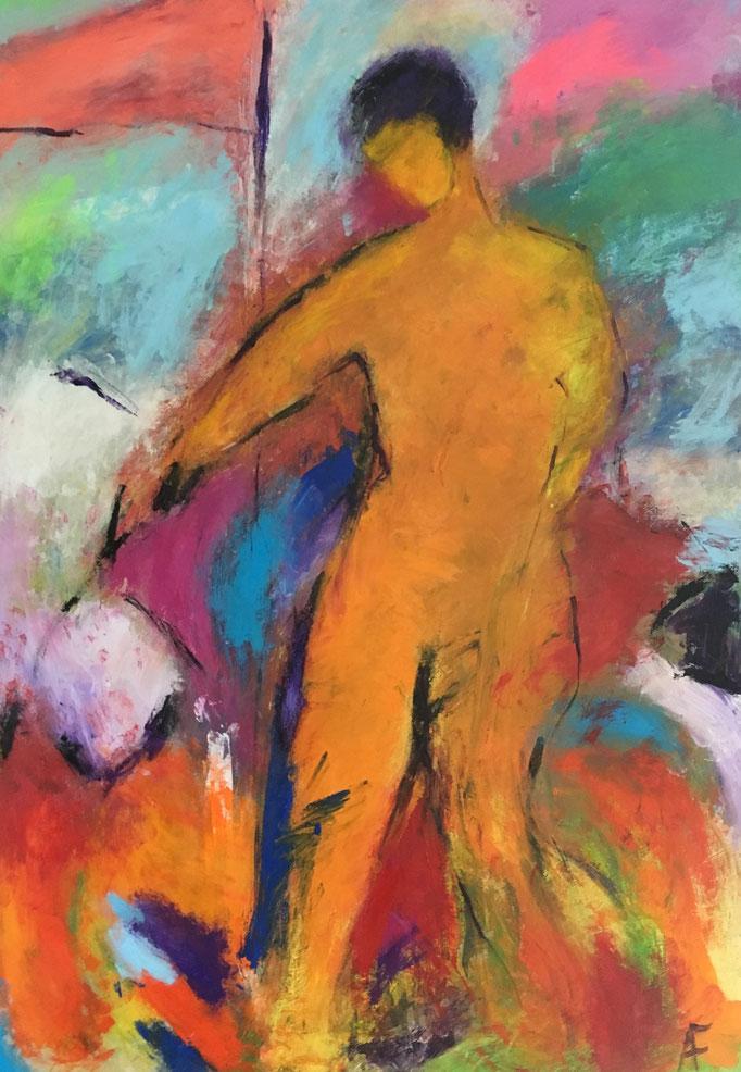 Mann mit Fähnchen (80x120cm), Acryl auf Leinwand