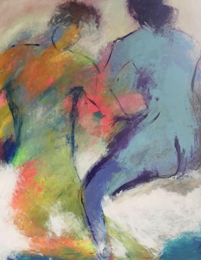 Die blaue Frau (100x120cm), Acryl auf Leinwand