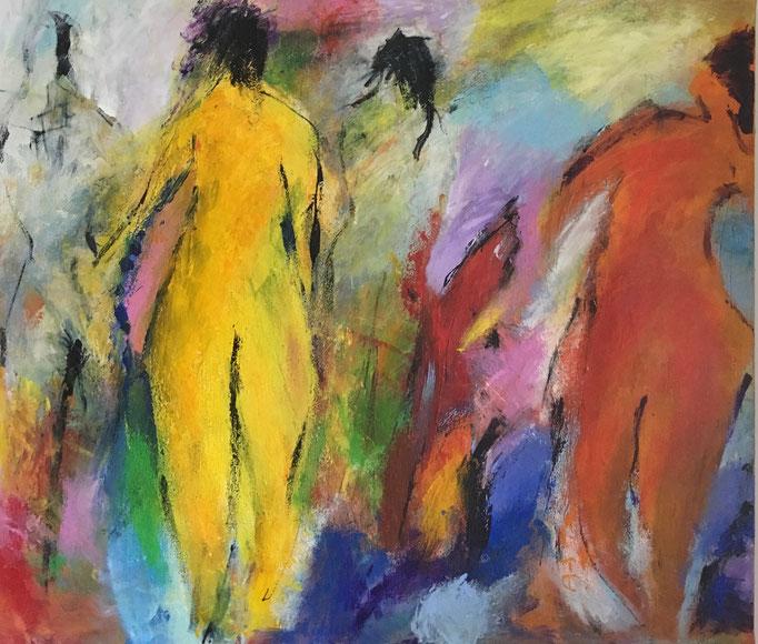 Menschen im Hintergrund (70x60cm), Acryl auf Leinwand
