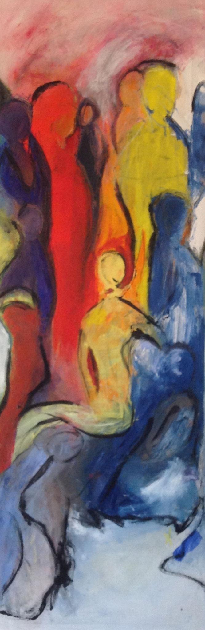 Frau in Gelb (50x150cm), Öl auf Leinwand