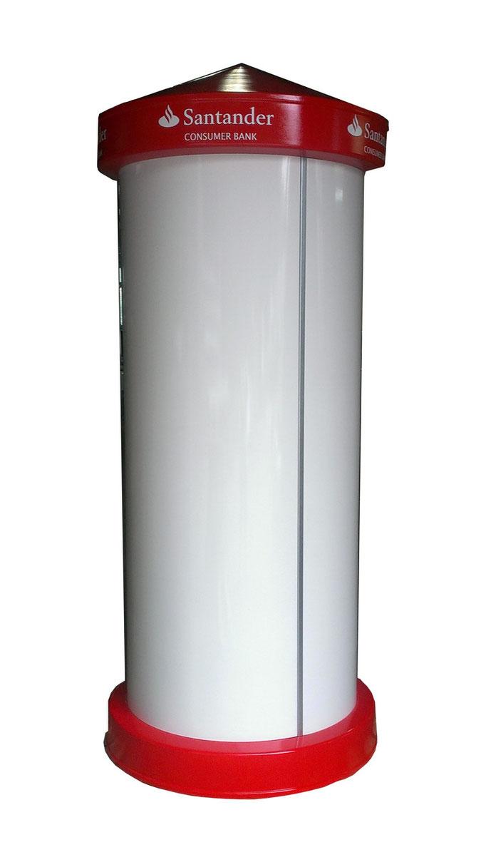 Litfaßsäule XL in RAL Farbe lackiert, Beschriftung im Kopfteil