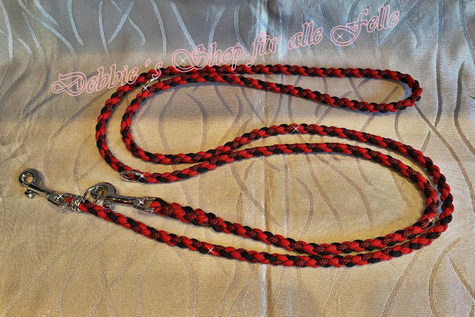 4 Strang einfach rund geflochten * 200 cm - 3-fach verstellbar * imperial red / black / imperial red diamonds