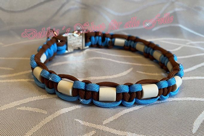 Typ Once, chocolate brown / baby blue - Halsumfang 38 cm - 27,- Euro