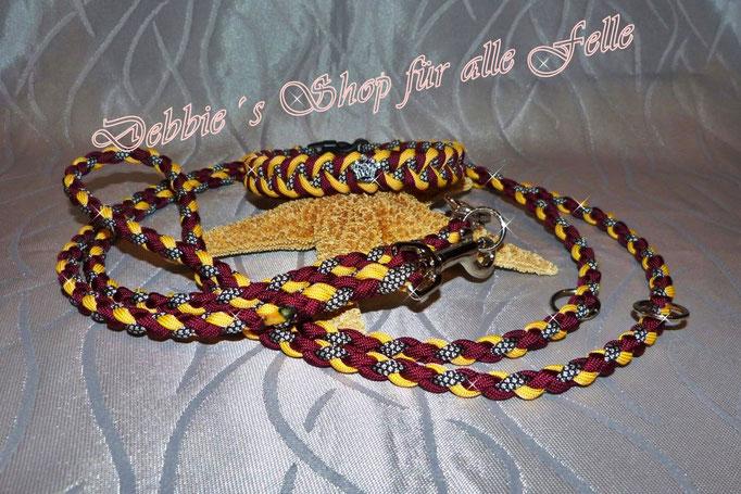 """Halsbandtyp """"Twister"""" mit Strasskrönchen und Leine einfach rundgeflochten 200 cm, dreifach verstellbar"""