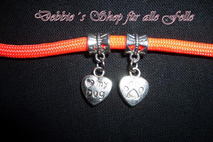 Anhänger Herz mit Pfote & ♥ my dog (Das Foto zeigt Vorder - und Rückseite