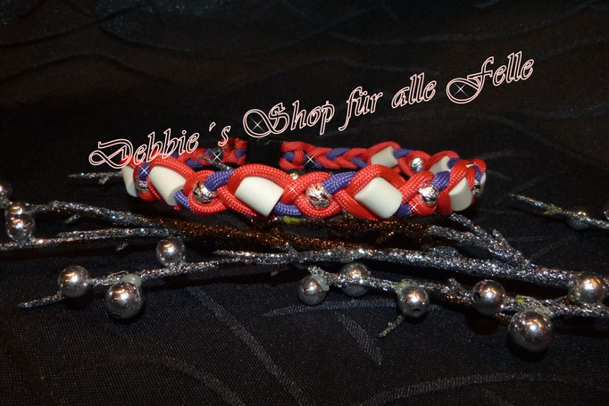 red / purple in Paracord geflochten mit Metallperlen versilbert - Halsumfang 39 cm = 23,- Euro