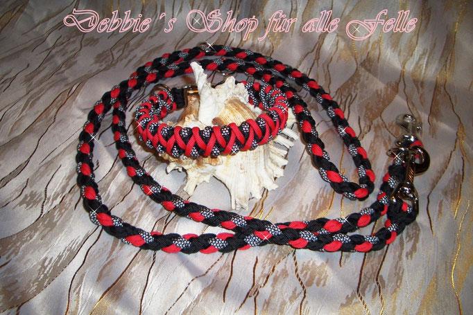 """Halsbandtyp """"Fire"""" mit Leine doppelt rundgeflochten 200 cm und dreifach verstellbar"""