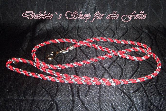 4 Strang einfach rund geflochten * 130 cm * imperial red / silver diamonds