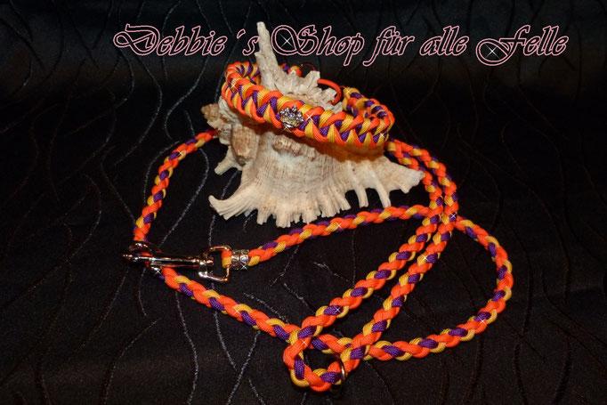 """Halsbandtyp """"Twister"""" mit Strasskrönchen und Leine einfach rundgeflochten 100 cm mit Handschlaufe"""