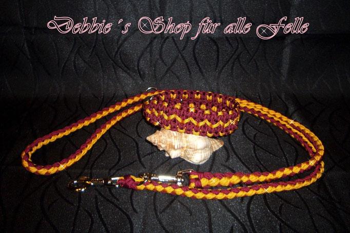 """Halsbandtyp """"Navajo"""" mit Leine rundgeflochten 200 cm und dreifach verstellbar"""