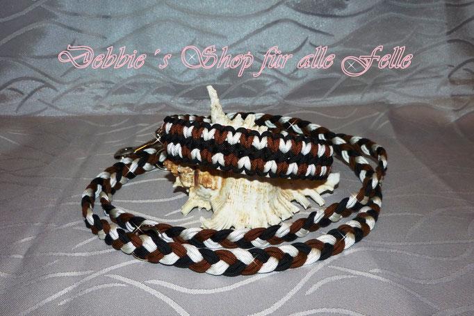 """Halsband """"Change"""" mit Leine doppelt flach geflochten 200 cm, dreifach verstellbar"""