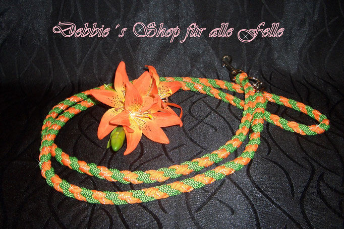 4 Strang doppelt rund geflochten * 200 cm - 3-fach verstellbar * reflekt. orange / neon green diamonds