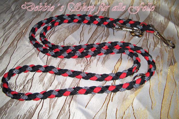4 Strang doppelt rund geflochten * 200 cm - 3-fach verstellbar * black / imperial red / silver diamonds