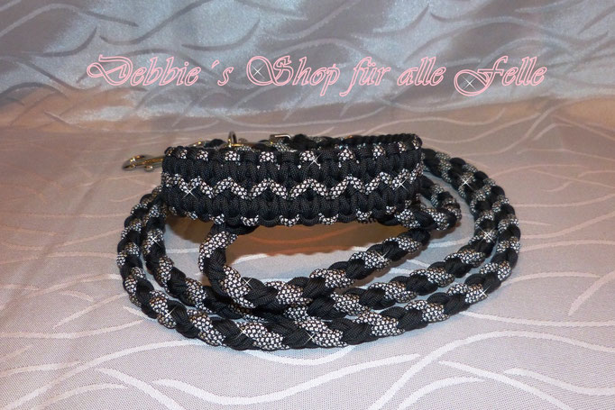"""Halsband """"Navajo"""" mit Leine doppelt rundgeflochten 220 cm, dreifach verstellbar"""