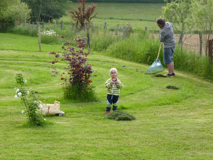 Noah und Eliah helfen Gras rechen