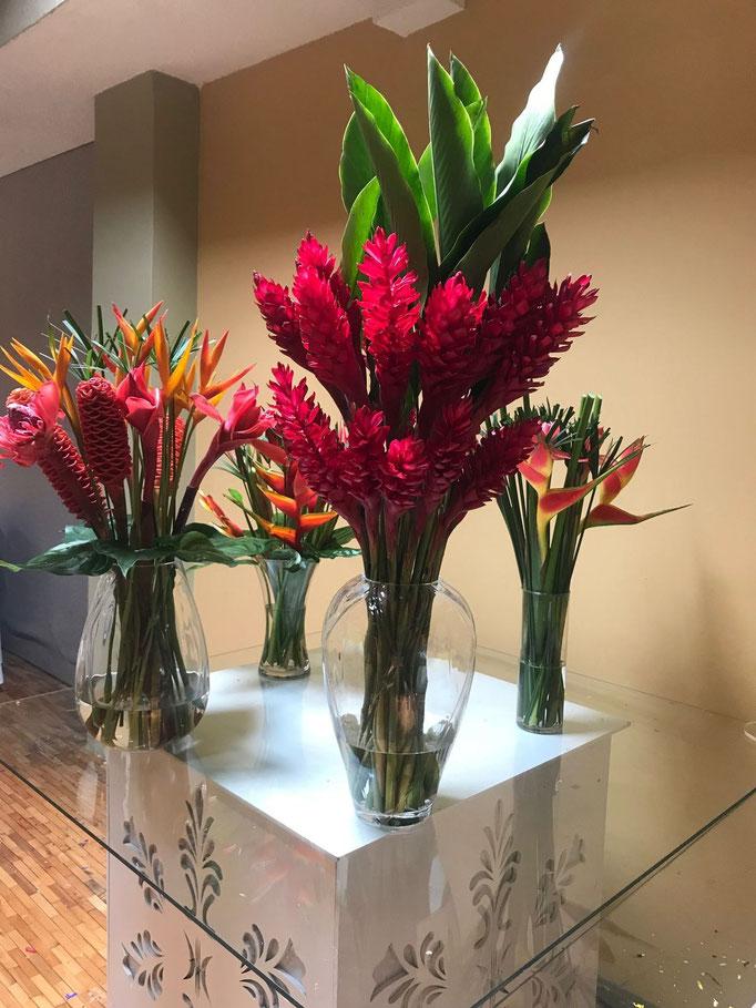 Vase fleurs tropicales et exotiques
