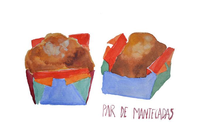 Mantecadas, A5, acuarela sobre papel, maría azcona 2013