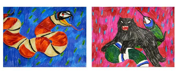 bestias, lápiz sobre papel, maría azcona 2016