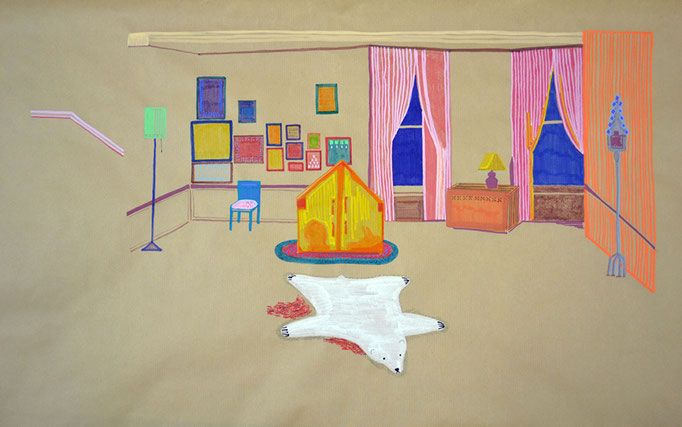Cuarto temporal Richie, 40x50cm, rotus y lápiz sobre papel, maría azcona 2014