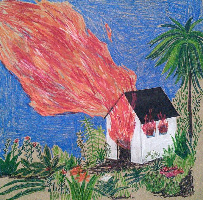 Incendio en el jardín, lápiz sobre papel, maría azcona 2015