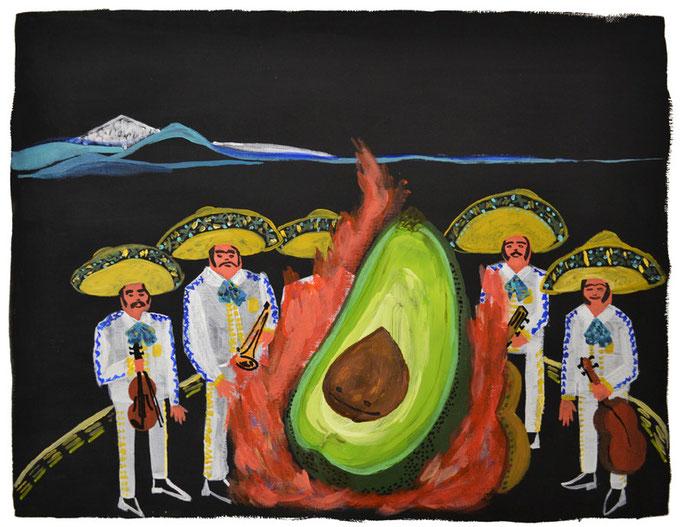 La ranchera del aguacate, acrílico sobre papel, maría azcona 2014