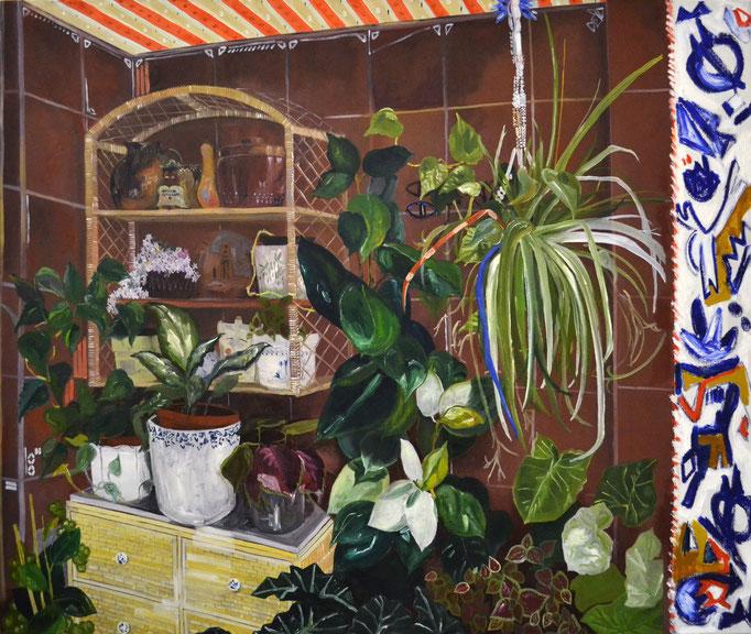 El jardín de mi abu Elisa, óleo sobre lienzo, maría azcona 2015