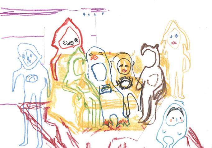 boceto Contigo son mejores los domingos, A4, lápiz sobre papel, maría azcona 2014