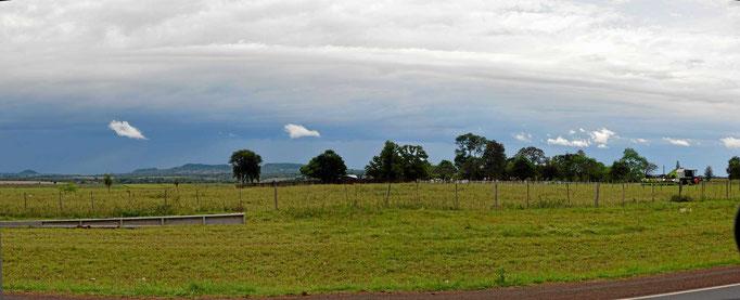 Die Landschaft von Süd-Paraguay - Riesenwiesen und Felder, ab und zu Bäume, wenig reizvoll