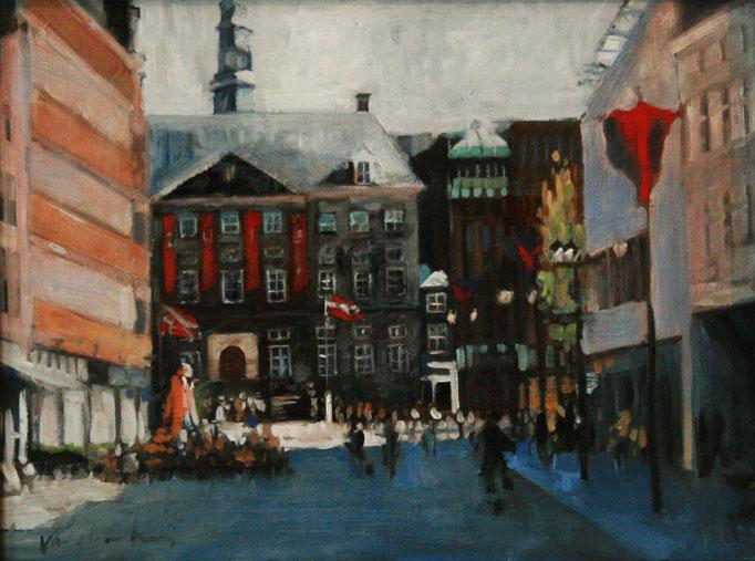 T stadhuis, 20 X 30 cm, olie op paneel, Edwin van den Berg