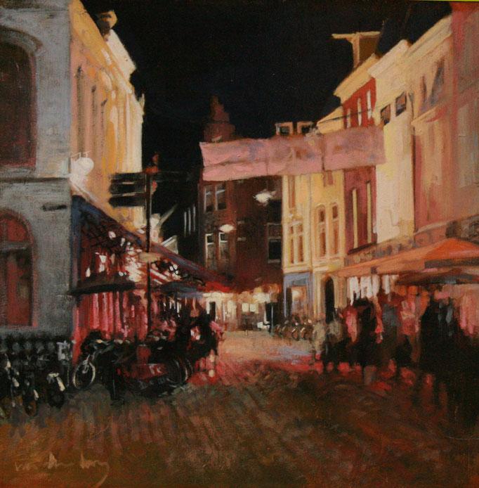 Korenbrugstraat, 40 X 40 cm, olie op paneel, Edwin van den Berg