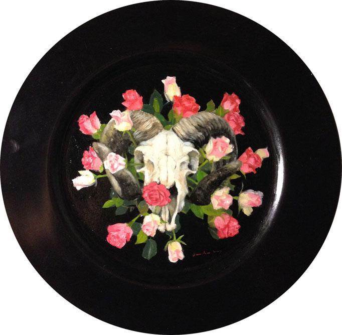 Floating Flowers; ramskull scets on plastic, 2016, olie, edwin van den berg