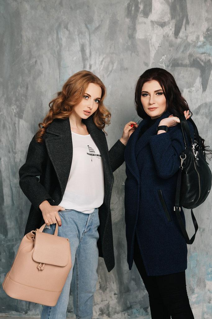 Look 3. Пальто в стиле БойФренд серый и фиолетовый цвета.  (размеры 40-50) Коллекция весна 2017