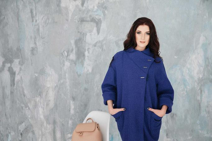 Look 16. Пальто темно-синие  ОверСайз.  (размеры 42-58 ) Коллекция весна 2017