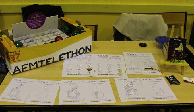 Des coloriages, des pas à pas pour apprendre à dessiner et des cartes postales et des boules de Noël pour le téléthon de St Père dans la Nièvre