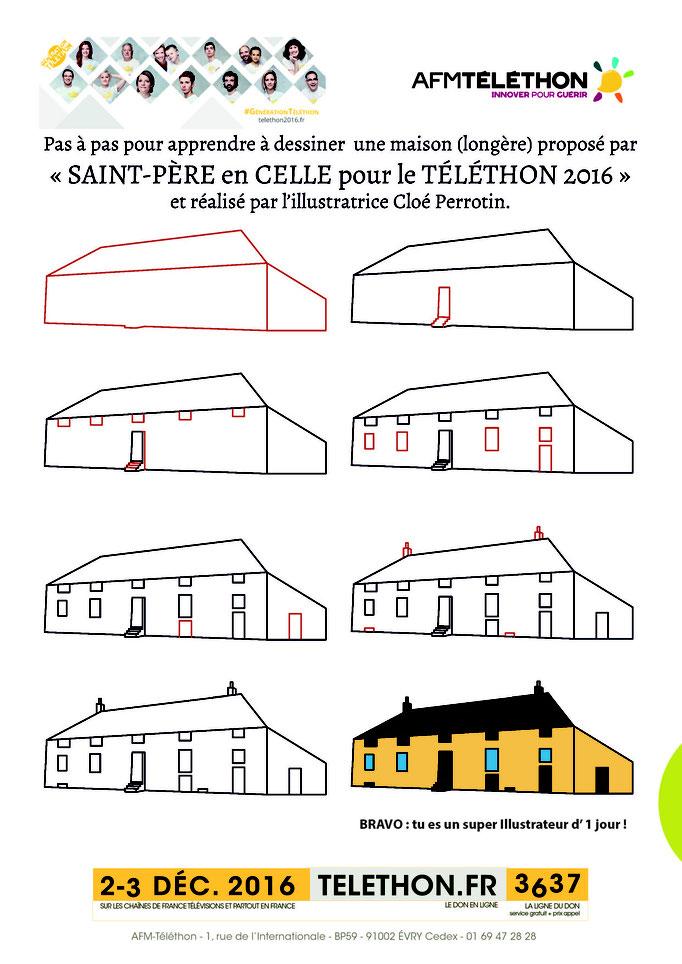 Tutoriel pour apprendre à dessiner une maison de type longère du Morvan illustré par Cloé Perrotin pour le Téléthon 2016