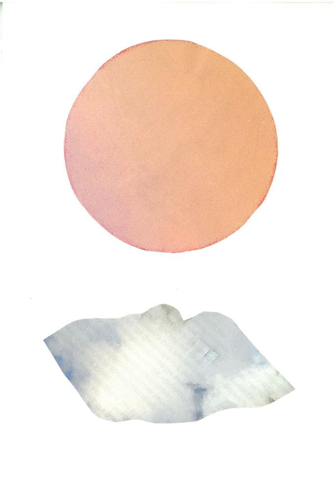 Sonne, bevor sie eine Wolke berührt und lacht, Collage auf Papier 2019