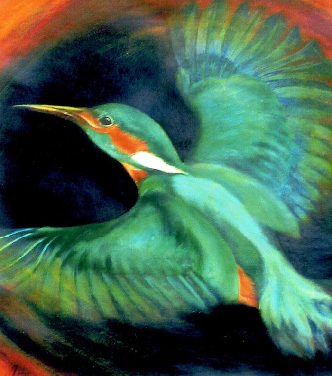 Eisvogel, 37 x 41 cm, Acryl/Malkarton