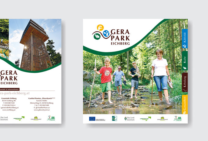 G.E.R.A. PARK EICHBERG: Corporate Design, Broschüre, Orientierungsplan, Beschilderung, Webdesign © by dunstdesign.at