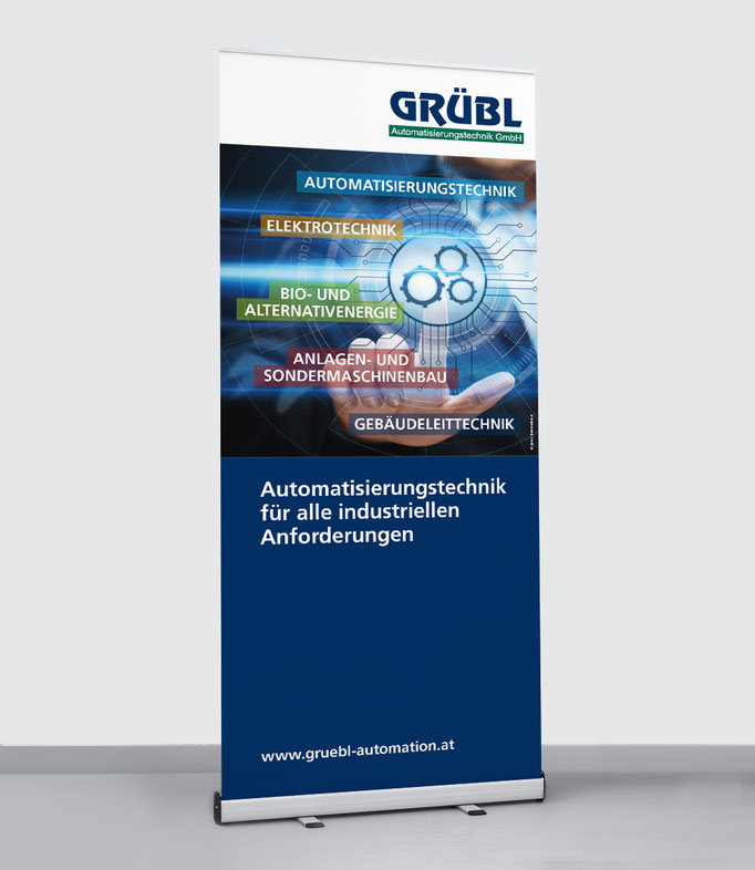GRÜBL AUTOMATISIERUNGSTECHNIK: Prospekte & Folder, Messestand, u.v.m. … © by dunstdesign.at