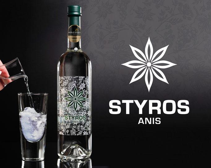 STYROS Anis: Markenlogo und Etikettendesign für Hödl's Styros ©by dunstdesign.at
