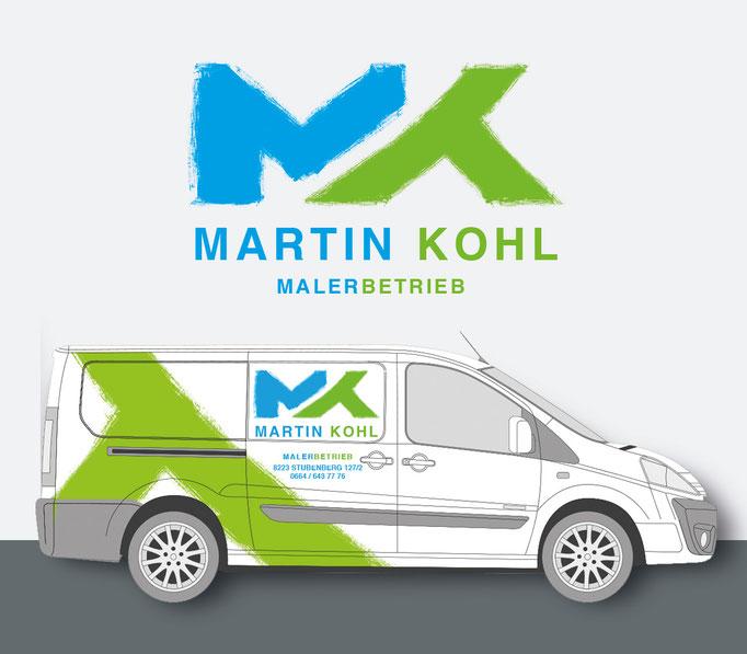 MALERMEISTER MARTIN KOHL: Corporate Design, Geschäftsdrucksorten, Fahrzeugdesign © by dunstdesign.at