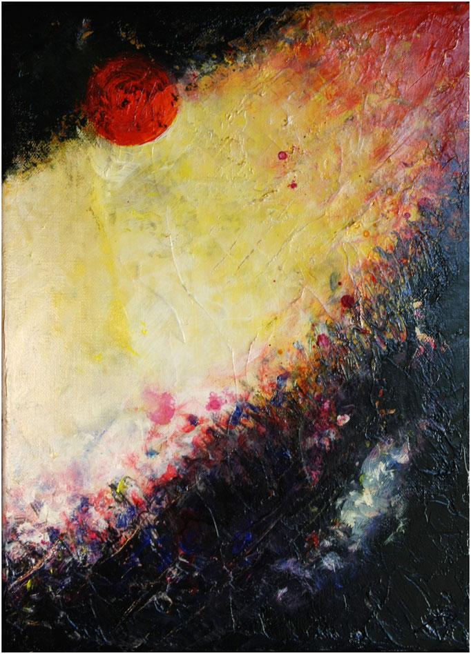 Soleil rouge - 33x24 cm - (disponible)