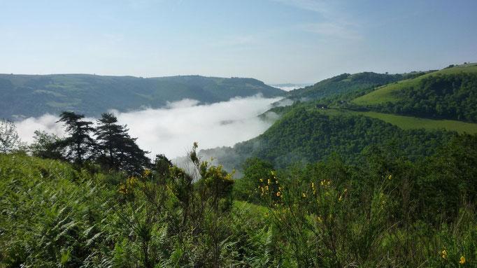 La vallée de Conques dans la brume