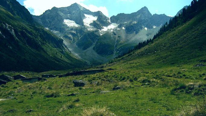 Die Bodenalm vom Rückweg ins Tal