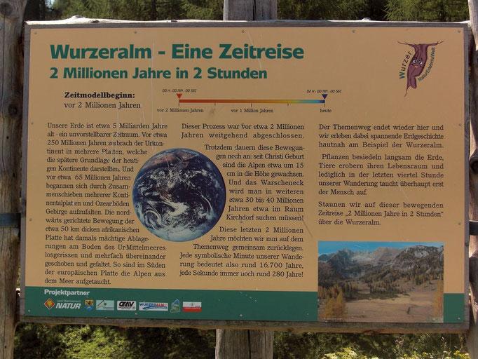 """Hinweistafel zur Wurzeralm-Naturerlebniswelt und zum Themenweg """"Zwei Millionen Jahre in zwei Stunden"""""""
